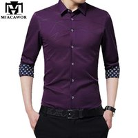 MIACAWOR New Men Shirt Slim Fit Langarm Kleid Shirts drucken Ärmelhemd Masculina Chemise Homme Plus Size C373