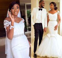 2021 Robes de mariée de la sirène blanche Crystal Beading Courroie manches courtes Robes de mariée sud-africaine Vestidos de Novia Plus Taille Mariage Robe