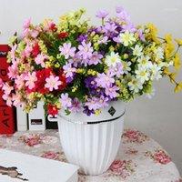 28HEADS 실크 데이지 인공 꽃 7 브랜치 꽃다발 집 웨딩 정원 장식 DIY 신부 실크 가짜 꽃 액세서리 1