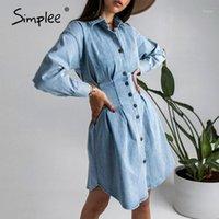 Повседневные платья простые причинно-следственные голубые осень зима корсет джинсовые платья высокая улица мода с длинным рукавом женщин сексуальная плиссированная кнопка 20211
