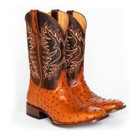 vertvie donne mezzo polpaccio stivali di pelle Vintage PU ricamo occidentale Stivali da cowboy Slip On inverno pattini casuali Scarpe a punta