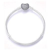 S925 серебряный браслет, яркий инкрустированный камень любви сердца пряжка змея костная цепь замыкает браслет с коробкой подходящего пандора европейские бисеры ювелирные изделия