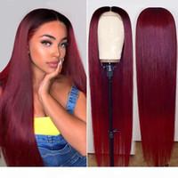 4x4 Fermeture perruque cheveux humains pour femmes noires courtes Bob HD HD frontal dentelle brésilienne avant os droit cheveux droits 99j ombre perruque de bourgogne