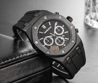 Günstiger Preis Herren Sport Armbanduhr 42mm Quarz Bewegung Männliche Zeituhr Uhr Mit Gummiband Männer Silikon Gürtel Skeleton Quarz Top Uhr