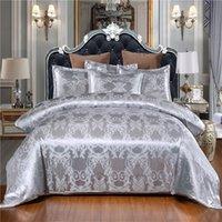 Роскошь 2 или 3шт постельное белье набор постельных принадлежностей атласная жаккардовая одеяла наборы с застежкой на молнии 1 покрывая крышка + 1/2 наволочки США / ЕС / AU Размер 201120