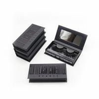 Luxury Black Mink Eyelashes Packaging Box With Mirror Natural Wispy Fluffy Dramatic Volume Fake Lashes Custom Lashes Package
