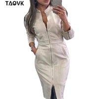 Taovk High Street Suede Vestido Mujeres de manga larga Bodycon Cremalleras Vestido Vintage Soporte Collar Oficina Dama Vestidos T200623