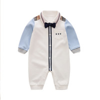 YiErYing Baby Casual Romper Boy gentleman Style Onesie for Autumn Baby Jumpsuit 100% Cotton LJ201023