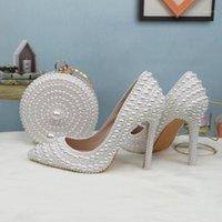 Baoyafang Blanco Beads Pearl Women Zapatos de boda novia tacones altos zapatos damas súper tamaño grande vestido fiesta mujer puntiaguda punta1