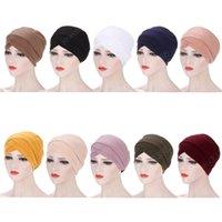 Индийские женщины Чистый цвет Hijab Turban Hat Head Caper Caper Caper Caper Caper Caper Caper Мусульманская исламская Beanie Bonnet Растягивающие голова Шапки