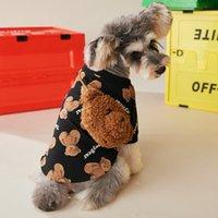 Bonito Impresso Pet Sweater com Bear Bag Outono Inverno Pet Roupas de Cão Pet Roupas Pug Pomeranian Corgi Roupas