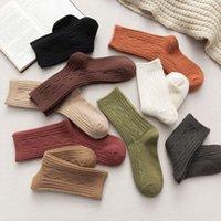 Осень и зимние мягкие шерстяные сочетания сапоги носки мода чистый цвет женщины теплые девушки студенты случайные носки