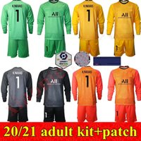 20 21 Kit para adultos Hombres Germain de manga larga Portero de fútbol Keylor Navas Jersey Sergio Rico Douchez Alphonse Areola Walty Football Shirts Kits