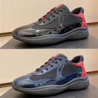 Мужчины America Cup Designer кроссовки лучшие патентные кожаные плоские тренажеры черные синие сетки на шнуровке нейлоновые повседневные туфли на открытом воздухе ботинки с коробкой