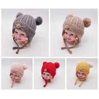 Ragazzi neonati Ragazze carino autunno inverno inverno bambini caldi bambini clip baby design cappelli cappelli di lana hemming caps 1-4y11