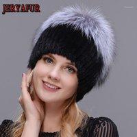 Шапочки / черепные колпачки Jeraifur Real Scliver Fur Hat женские натуральные зимние шляпы для женщин розовые стразы Beatwork Mix Color Beanies1