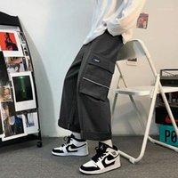 Мужские штаны 2021 мода мужская прямая кишка уличные спортивные штаны серые / черные шорты загрузки цвет большие M-2XL короткие шорты1