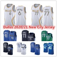 Мужская Лука 77 Джерси Долень-зеленый Kriestaps 6 Porzingis DallasDirk 41 Nowitzki Mavericks2021 город белый синий баскетбол