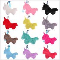 Llavero creativo de caballo de unicornio de unicornio con bolsa de cuerda de la PU Anillos de llaves de los accesorios regalos decoración del coche envío gratis