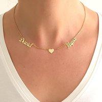 Benutzerdefinierte Schmuck doppelt name Halskette mit einem Herzen für Liebhaber personalisierte Gold Edelstahl zwei name namesplatte anhänger bff y1220