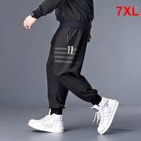 Erkek Pantolon Büyük Boy Erkekler Jogger Streetwear Casual Harem Pantolon Büyük Boy Sweatpants Elastik Bel Siyah Pantolon Artı 6XL 7XL HX4041