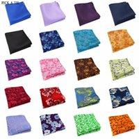 235-B15 Mens mariage poche carrée 100% soie pour costume cravate Cravat Mouchoir Homme Accessoires Jacquard Solid Motif floral