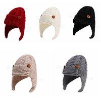 enfants Bouton automne chapeau tricot enfants d'hiver enfants chapeau laine belle hiver chaud en plein air bébé Cache-oreilles chapeau CYF4543-4