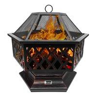WACO FIRE PIT, 25 'Outdoor Holz Burning Steschexagonale BBQ Grillheizung mit Mesh-Funken-Bildschirm-Abdeckung für Terrasse Camping Picknick-Gartenkupfer