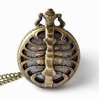 Taschenuhren Pflege Skeleton Rückenrippen Hohlform Quarzuhr Kühle Vintage Halskette Anhänger Uhr Kette Herren Womens Gifts1