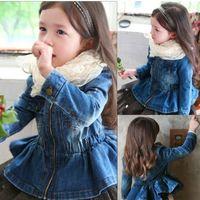 TeenMiro Girls Peplum Denim Jacket Kids Fashion Jeans Coat Spring Niños Ropa Moda Little Girls Outerwear Ropa 2-8Y 201104
