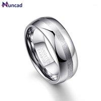 Nuncaid мужская 8mm Matte Finish Mathed Center Center High полированные куполообразные вольфрама свадебные кольца кольца размером 7-121