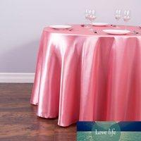 Venta caliente 1pcs 57''90''120 '' mantel tela de mesa redonda sólida sólida para la decoración del banquete del restaurante de la fiesta de bodas de Navidad