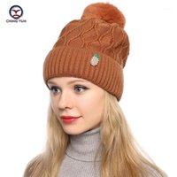 Beanie / casquettes de crâne ching yun hiver hiver chapeaux tricotés féminin mode couleur solide plus velours épaississement cyclisme extérieur chaleur de chaleur de chaleur ba