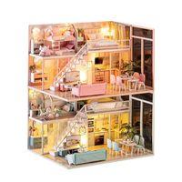 DIY Doll House Casas de muñecas de madera Sorpresa Miniatura Mueble Kit de muebles con juguetes LED para niños Cumpleaños Regalo de Navidad LJ200909