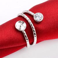 Triple Circle Runder Band Schlangenringeinstellungen Zirkon 925 Sterling Silber Schmuckzubehör für Pearl Party