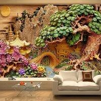 사용자 정의 산 물 풍경 3D 나무 조각 아트 장식 벽화 연구 거실 TV 배경 벽화 벽지 1