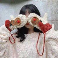 Mitaines de cerf de la bande dessinée pour dames d'hiver avec des gants de laine chaude chaude chaude et moelleux