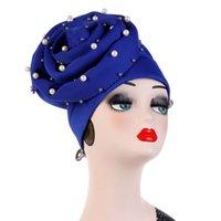 Beanie / Kafatası Kapaklar Saf Renk Skullies Inci Şapka Moda Ince Müslüman Başlık Rahat Yüksek Kaliteli Rhinestone Çiçek Pamuk Yumuşak Türban
