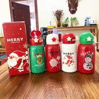 أرخص 21oz عيد الميلاد جدار مزدوج معزول الاطفال زجاجة مياه 600ML محمولة مضادة للماء جرافات واقية من الأطفال شرب زجاجة مياه DHA1819
