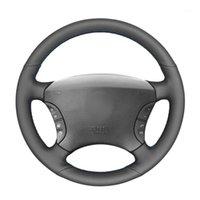 Крышки рулевого колеса Ручной Швейные черные PU искусственной кожи автомобильной обертывания для - S-Class W220 S500 S600 S430 S3501