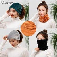 Beanie / Kafatası Caps Clearluv Moda kadın Streç Örgü Bere Şapkalar Katı Boyun Eşarp Sıcak Bayanlar Güz / Kış Hat1