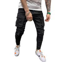Грузовые брюки Карманные Мужчины Джинсы Скандные Сексуальные Промывные Брюки Черные Джинсы Джинсовые Брюки Мужчины Jogger Повседневная Длинная Одежда для карандашей
