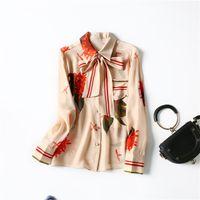 2021 Primavera de manga larga Cuello de solapa Beige Estampado floral natural Cinta de seda natural Bow Single-Bouse Blusa elegante camisas WJ122814