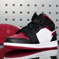 Jumpman 1 Orta Bred Toe (GS) Siyah Noble Kırmızı Beyaz Golf Ayakkabı Tenis Ayakkabı Erkek Tasarımcı Eğitmenler Schoenen Ücretsiz Kargo Ayakkabı