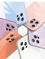 2020 Yeni Macarone Cam Cep Telefonu Kılıfı iphone 12 Mini Pro Max XS XR 8 7 Plustpu Koruyucu Şok Geçirmez Kapak