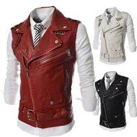 Mens PU couro punck Casacos Outono Inverno Moto mangas lapela pescoço Zipper Belt Coletes homem High Street frio moda roupa
