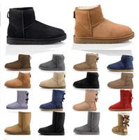 2020 Designer Frauen Stiefel Schnee Winterstiefel Australier Satin Boot Knöchel Booties Pelz Leder draußen Schuhe Größe 36-41