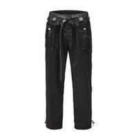 Pantalon en nylon noir tactique cargo ajustable taille Loose Fit Hommes Streetwear
