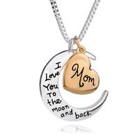 Bijoux coeur de haute qualité Je t'aime à la lune et au dos maman pendentif collier mère jour cadeau cadeau en gros bijoux de mode