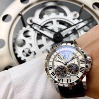Montre de luxe EXCALIBUR 46mmRDDBEX0280 cadran intégré dans la peau manuelle à remontage automatique poignet doubles hommes montre montres tourbillon de mouvement
